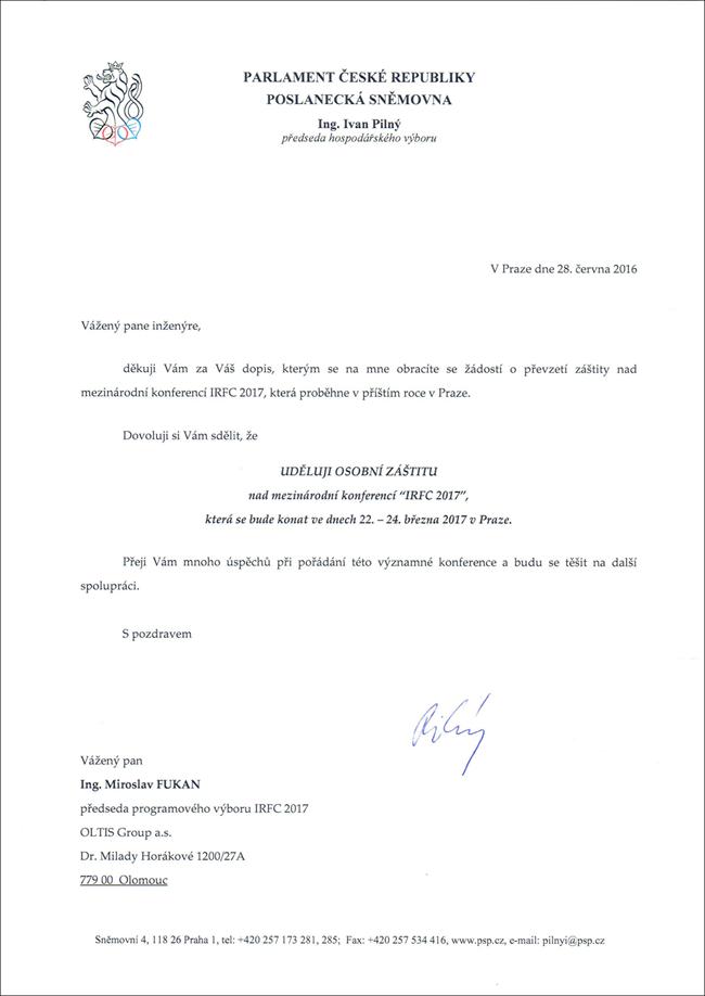Parlament ČR_osobní záštita nad IRFC 2017_IvanPilný 2